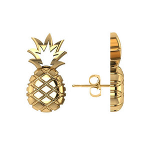 14kt Yellow Gold Pineapple Fashion Stud Earrings