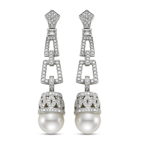 18kt White Gold South Sea Pearl And Diamond Earrings-Isaac Westman-JewelStreet EU