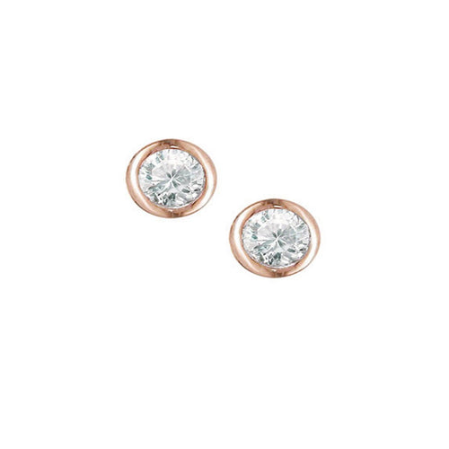 Rose Gold Raindrop Diamond Solitaire Earrings