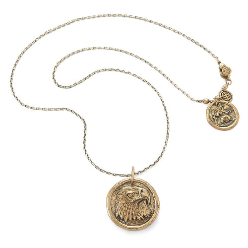 Power Eagle Traveller's Coin Necklace Bronze-House of Alaia-JewelStreet EU