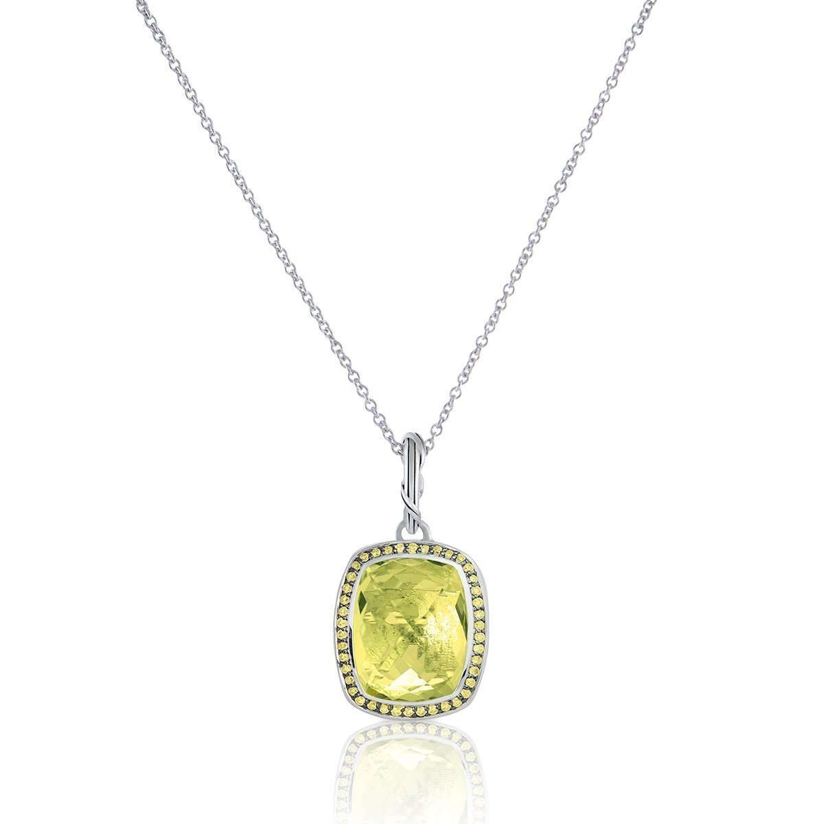 Fantasies Prasiolite-Yellow Sapphire Halo Necklace ,[product vendor],JewelStreet EU