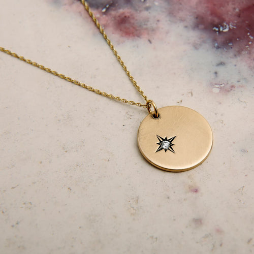 9kt Yellow Gold Star Set Diamond Disc Necklace