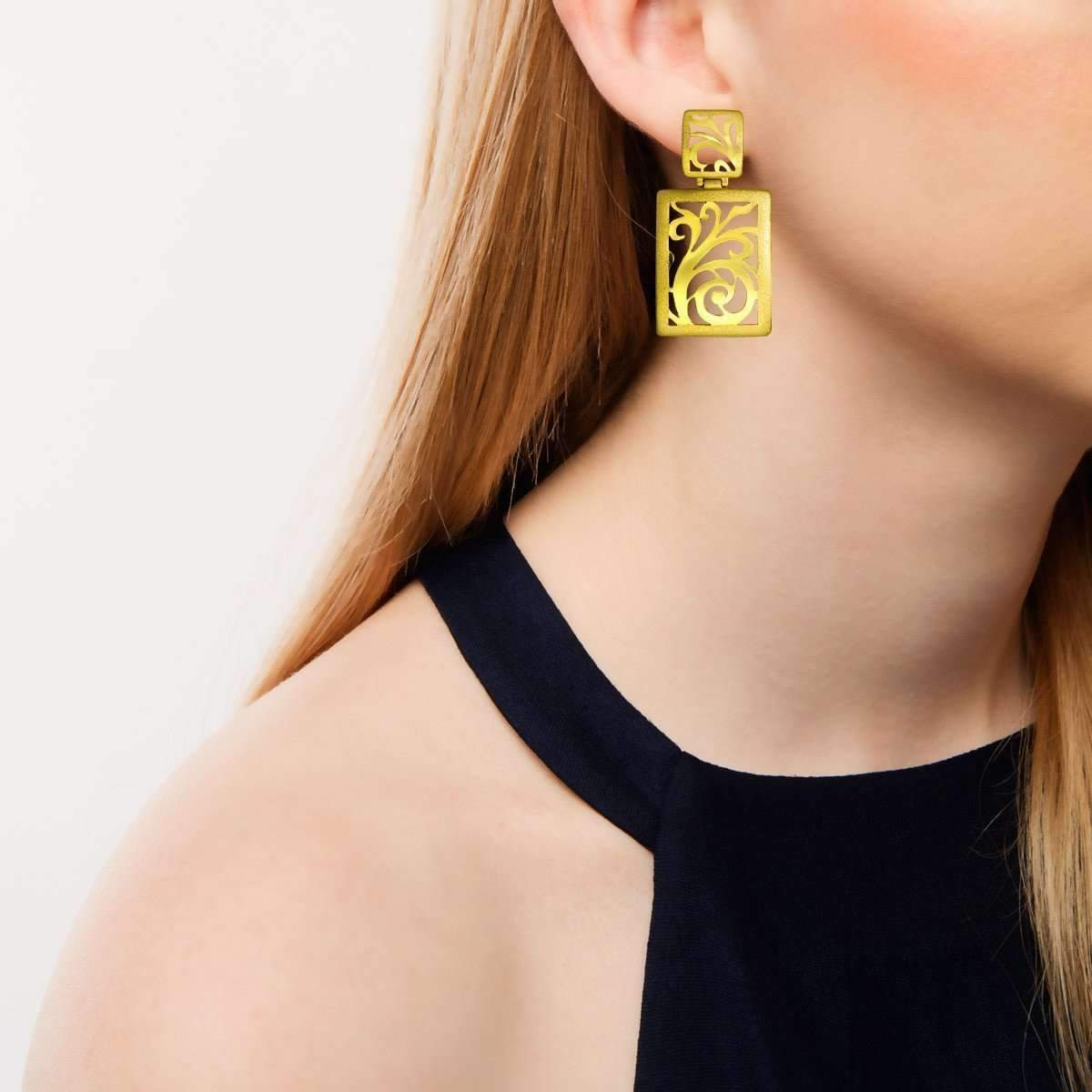 Gold Ornament Earrings With Contrast Texture-Alex Soldier-JewelStreet US