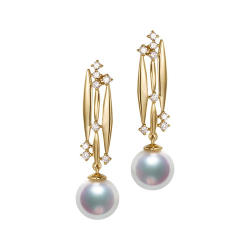Akoya Pearl Diamond Earrings - 7.5-8.0mm Pearls-SILVER YULAN-JewelStreet EU