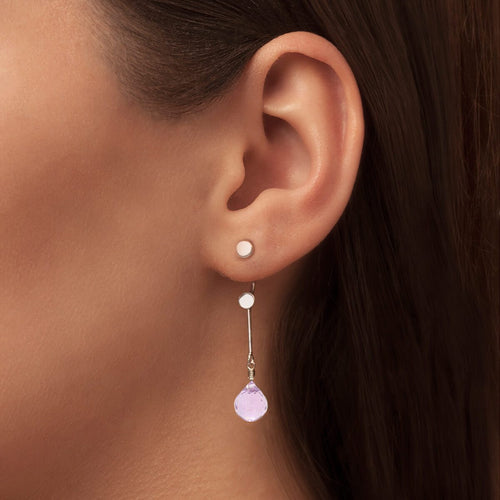 Brilliant Brio Earrings With Rose Quartz - Short Drop