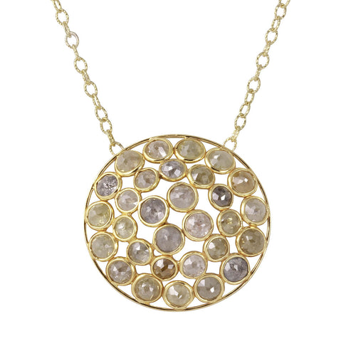18kt Yellow Gold Natural Colour Rose-Cut Diamond Dome Shape Necklace ,[product vendor],JewelStreet