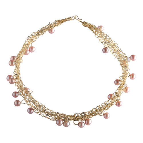 Intertwined Gold-plated Necklace With Pearls-Jewellery Design Marie-Benedicte-JewelStreet EU