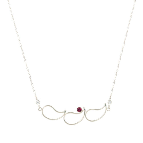 Sterling Silver, Garnet & Topaz Breezy Paisley Necklace | INIZI