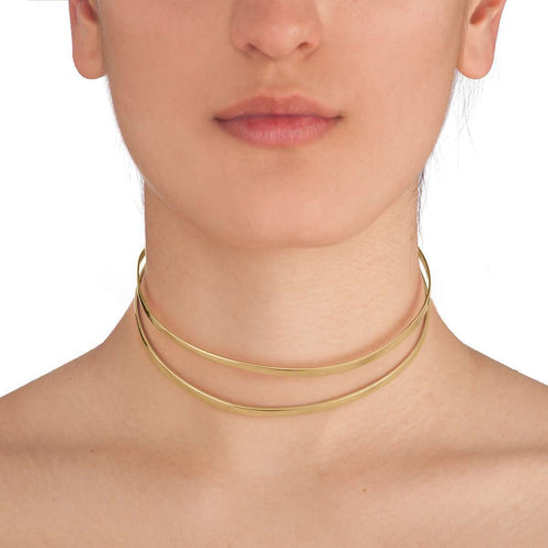 Indochine Choker in Shiny Yellow Gold Plated-EKRIA-JewelStreet EU