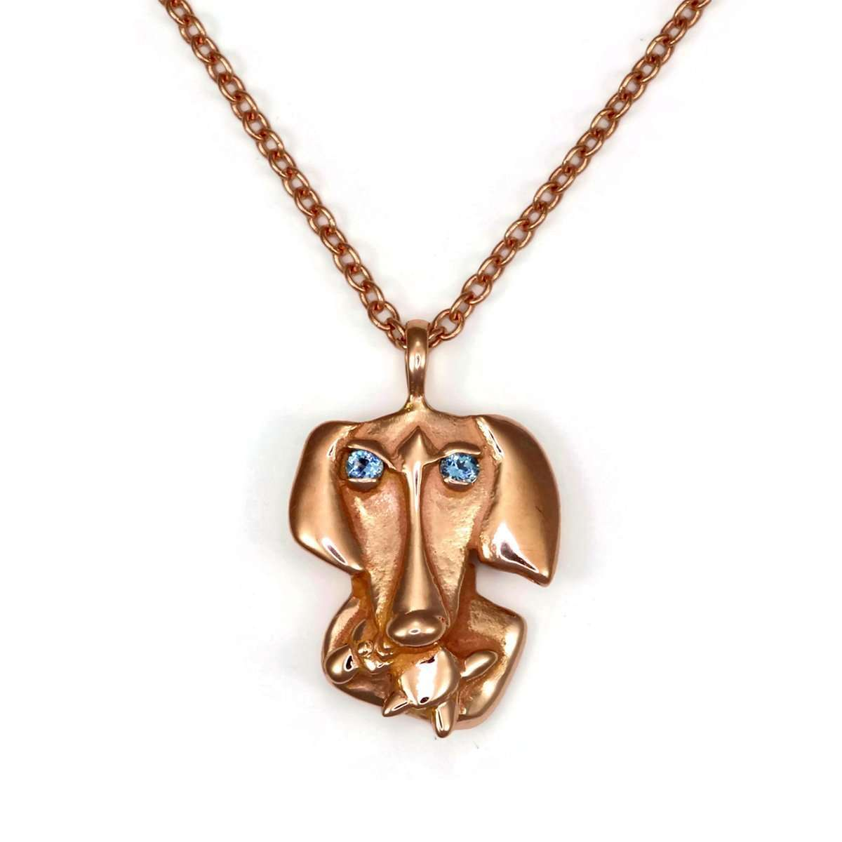 14kt Weimaraner Necklace With Aquamarine Eyes-Donna Pizarro Designs-JewelStreet EU