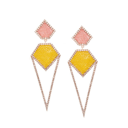 Cara Rose Gold Plated Silver Earrings With Pink Stingray Leather