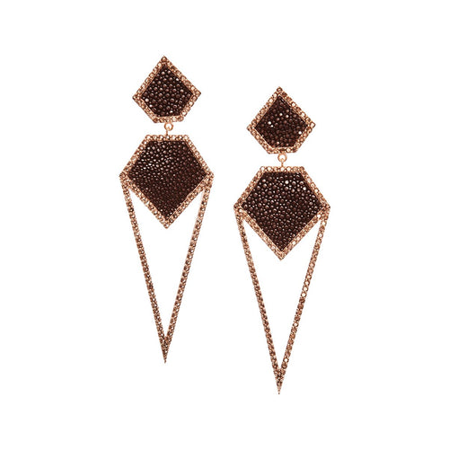 Cara Rose Gold Plated Silver Earrings With Brown Stingray Leather