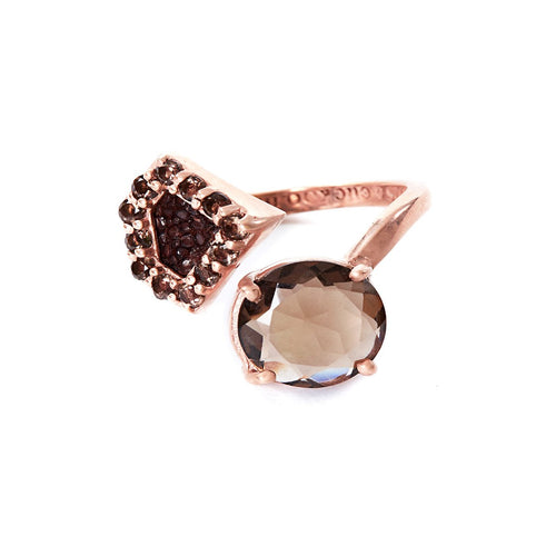 Rose Gold Plated Silver Ring With Brown Stingray Leather & Smoky Quartz