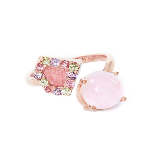 Rose Gold Plated Silver Ring With Rose Stingray Leather & Rose Quartz