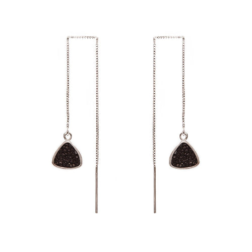 Nana Rhodium Plated Silver Earrings With Black Stingray Leather