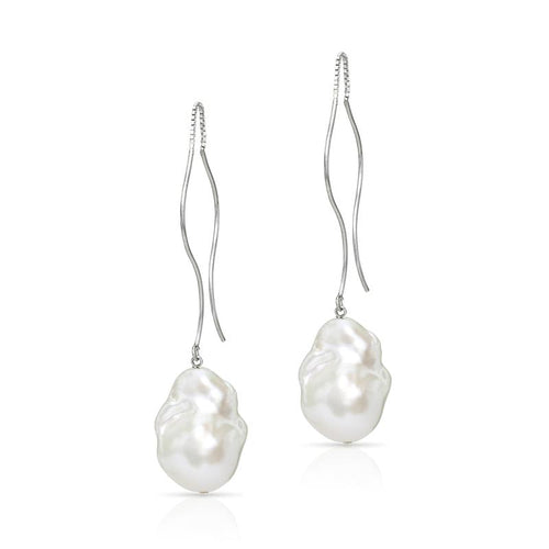 Waves Sterling Silver Baroque Freshwater Pearl Threader Earrings ,[product vendor],JewelStreet