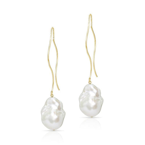 Waves Gold Vermeil Baroque Freshwater Pearl Threader Earrings ,[product vendor],JewelStreet