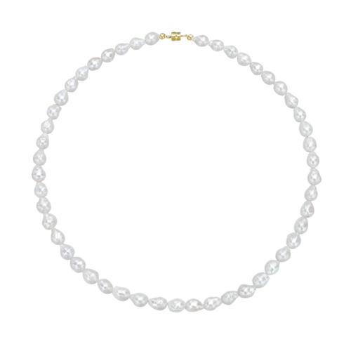 Antibes White Baroque Freshwater Pearl Necklace ~ Gold Magnetic Clasp ,[product vendor],JewelStreet