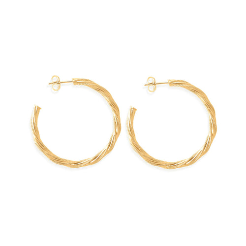 14kt Gold Vermeil Large Chain Hoops ,[product vendor],JewelStreet