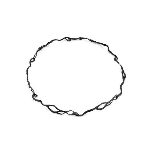 Long Seaweed Choker Oxidised Silver ,[product vendor],JewelStreet