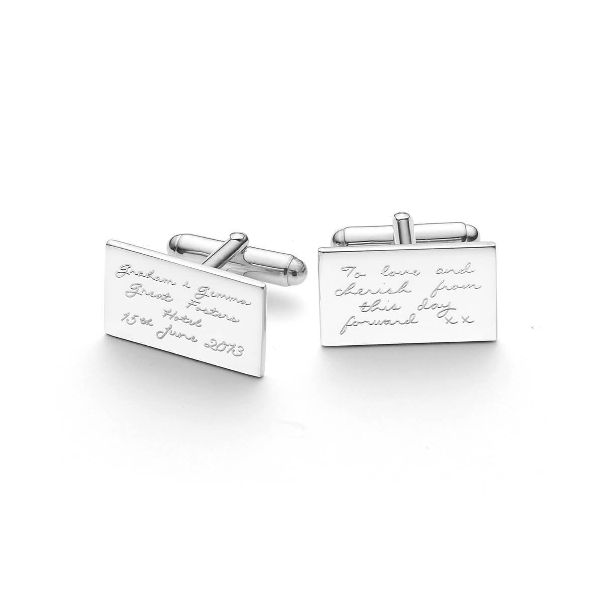 Personalised Engraved Silver Cufflinks