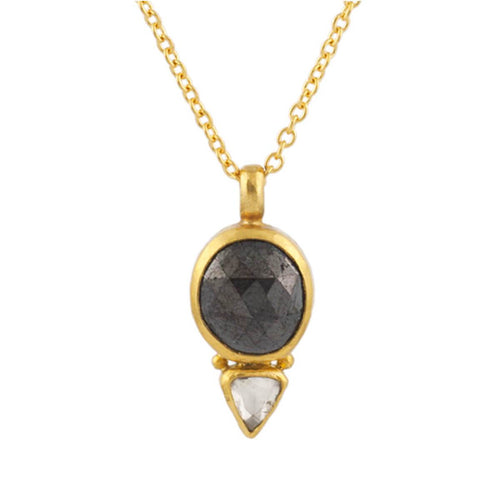 24kt Yellow Gold Elements Pendant Necklace With Black & White Diamonds