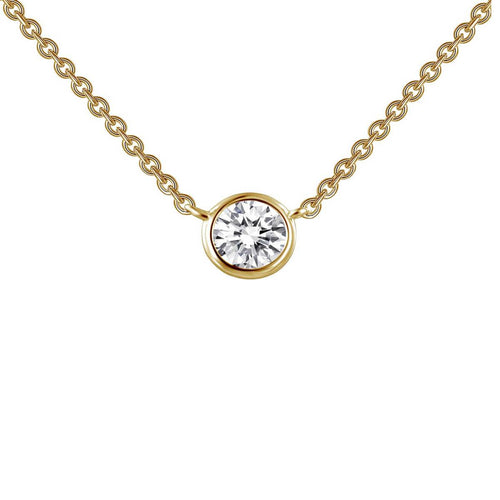 Lafonn Yellow Gold Plated Bezel-set Solitaire Necklace
