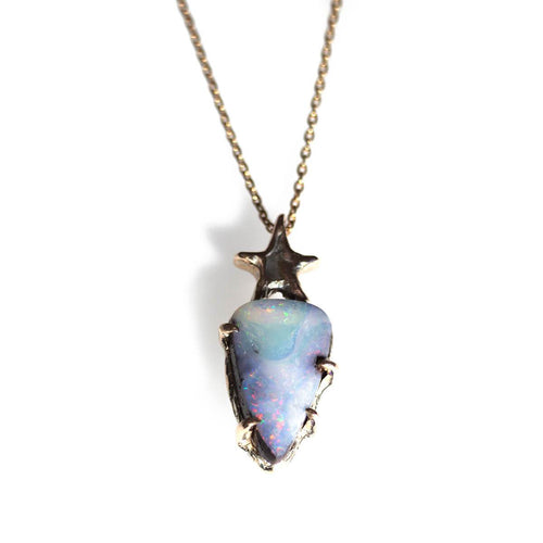 10kt Yellow Gold Opal and Star Necklace