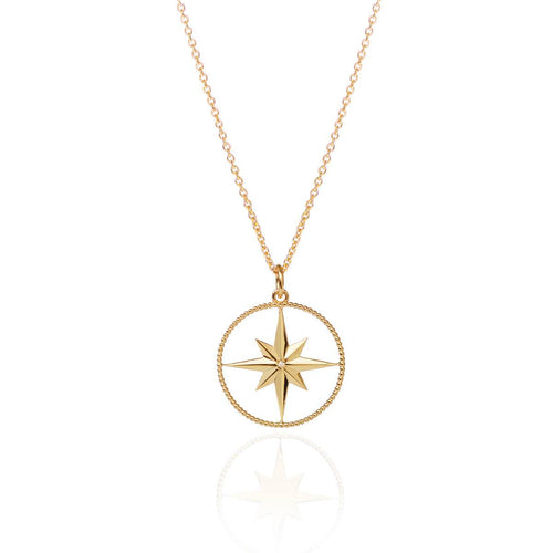 18kt Yellow Gold Vermeil North Star Pendant With Diamond