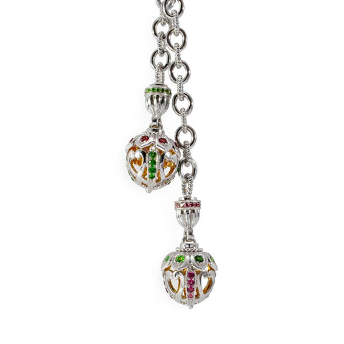 Sterling Silver Jewelled Acorn Lariat