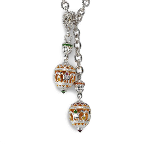 Sterling Silver Jewelled Egg Lariat Necklace