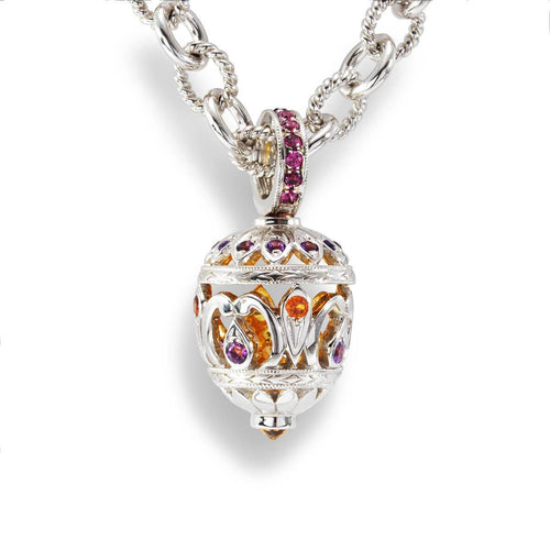 Sterling Silver Jewelled Egg Pendant Necklace
