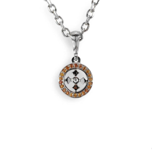 Sterling Silver Solar Cross Jewelled Pendant Necklace