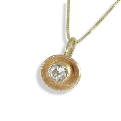 14kt Yellow Gold Sun Concave Pendant