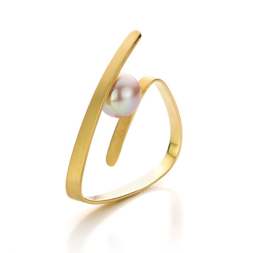 Pure Line Ring In Gold And Pink Pearl