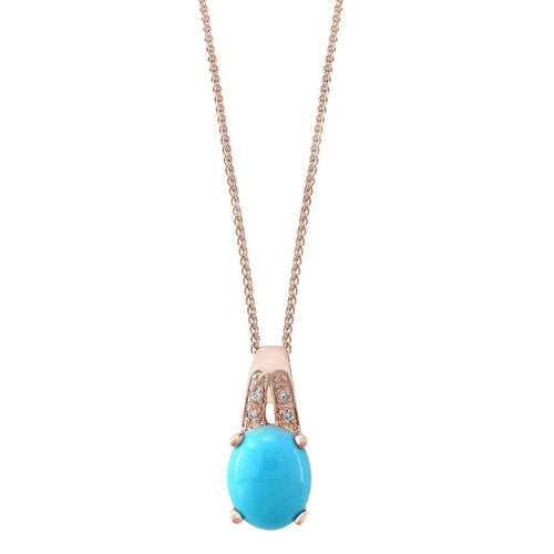 14kt Rose Gold Diamond And Turquoise Pendant With Chain