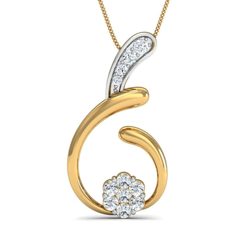 Hand-carved 18kt Yellow Gold Nature Inspired Diamond Pave Pendant-Diamoire Jewels-JewelStreet EU