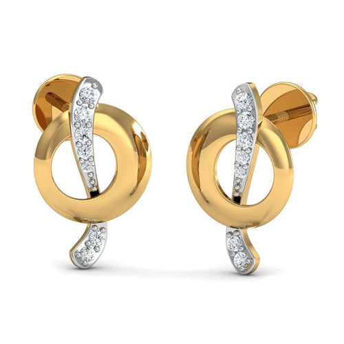 18kt Yellow Gold and Premium Diamonds Nature Inspired Pave Earrings-Diamoire Jewels-JewelStreet EU
