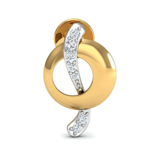 10kt Yellow Gold and Premium Diamonds Nature Inspired Pave Earrings-Diamoire Jewels-JewelStreet EU