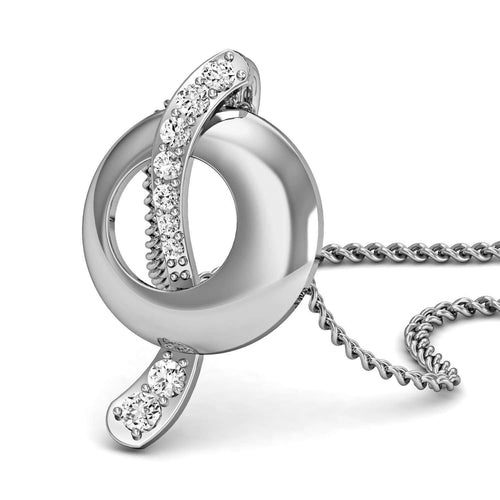 Excellent Cut Diamond and 10kt White Gold Pave Pendant-Diamoire Jewels-JewelStreet EU