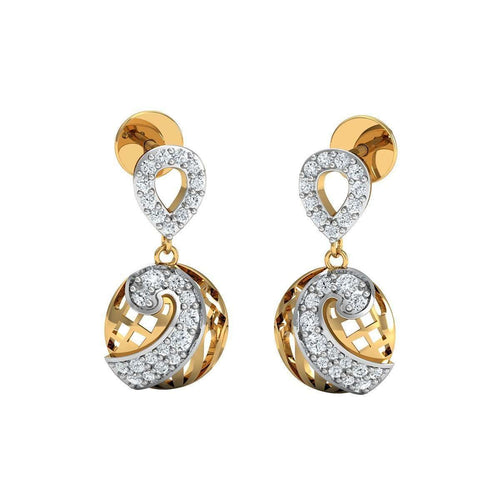 50 Premium Round Cut Diamonds and 10kt Yellow Gold Pave Earrings-Diamoire Jewels-JewelStreet EU