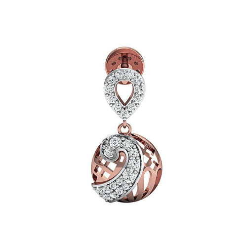 14kt Rose Gold and SI3 Premium Round Shape Diamonds in a Pave Earrings-Diamoire Jewels-JewelStreet EU