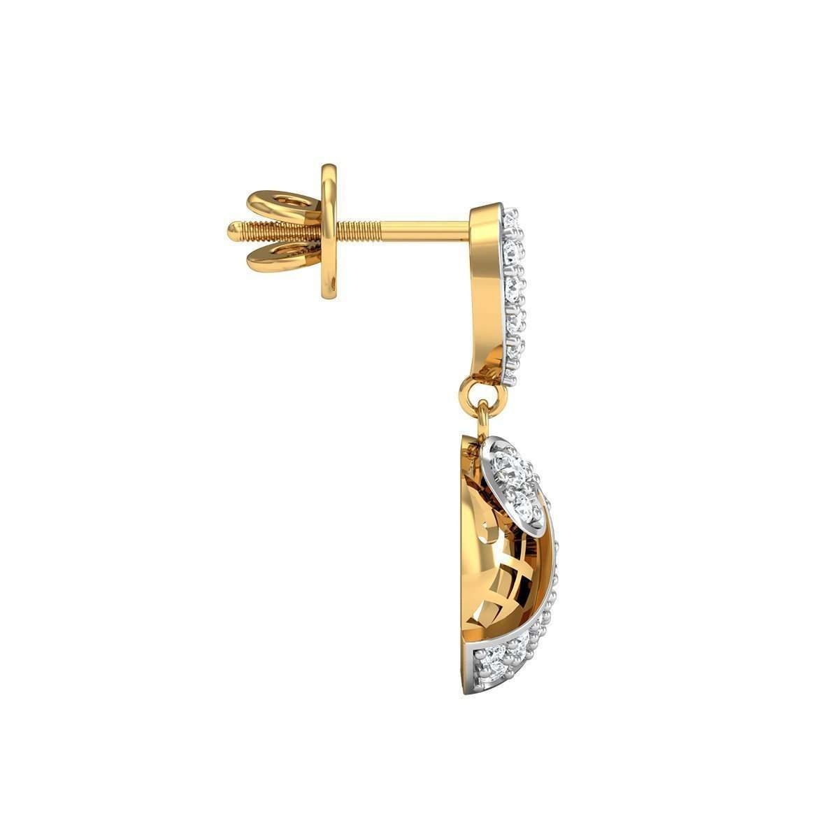 52 Premium Round Cut Diamonds and 18kt Yellow Gold Pave Earrings-Diamoire Jewels-JewelStreet EU