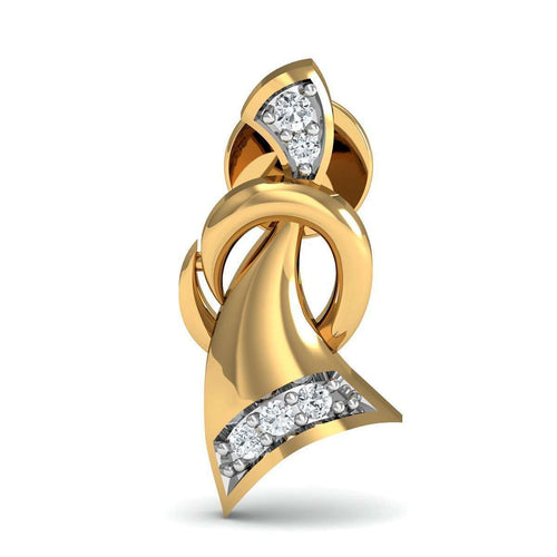 10 Round Cut Diamonds and 14kt Yellow Gold Nature Inspired Pave Earrings-Diamoire Jewels-JewelStreet EU