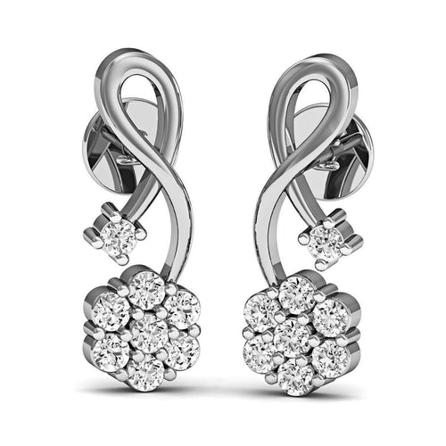 16 Diamonds and Hand-carved 10kt White Gold Prong Diamond Earrings-Diamoire Jewels-JewelStreet EU