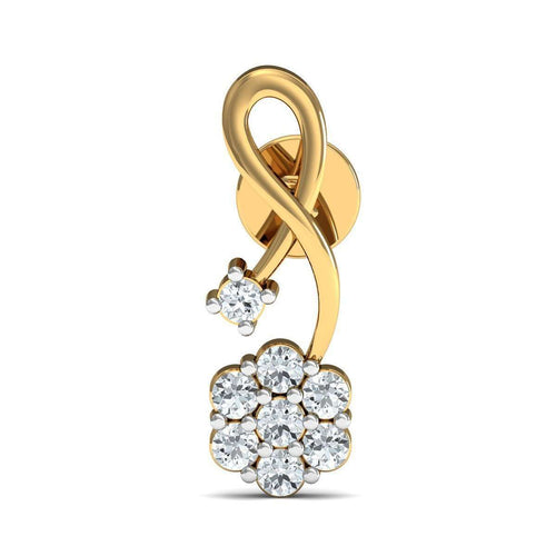 14kt Yellow Gold and 16 Diamonds Nature Inspired Prong Earrings-Diamoire Jewels-JewelStreet EU