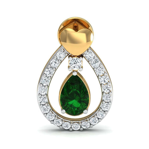 Hand-hammered 14kt Yellow Gold Earrings with Pear Cut Emerald and Round Diamonds-Diamoire Jewels-JewelStreet EU