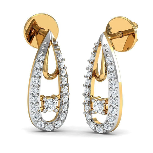 Hand-carved 10kt Yellow Gold and Premium Quality Diamond Earrings-Diamoire Jewels-JewelStreet EU