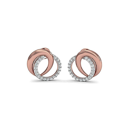 10kt Rose Gold Nature Inspired Pave Earrings with Premium Quality Diamonds-Diamoire Jewels-JewelStreet EU