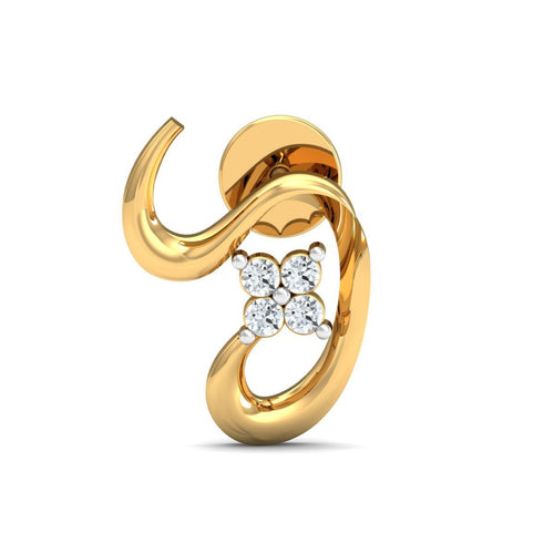18kt Yellow Gold 0.08ct Pave Diamond Infinity Earrings II